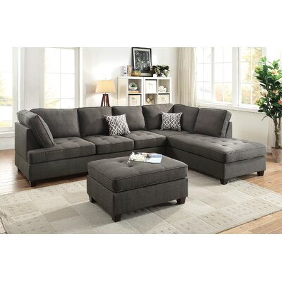 Lukasik Reversible Sectional Upholstery: Ash Black