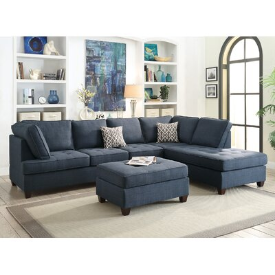 Lukasik Reversible Sectional Upholstery: Dark Blue
