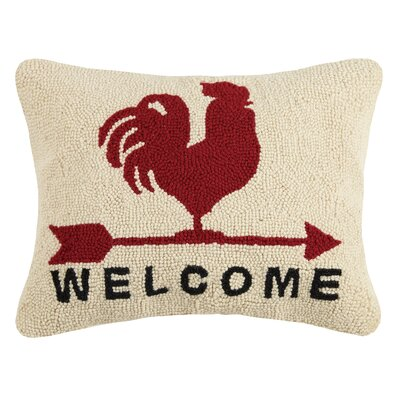 Gannon Rooster Welcome Wool Throw Pillow
