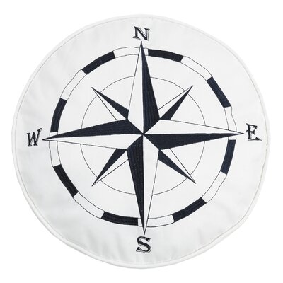 Earnhardt Nautical Compass Embroidered Cotton Throw Pillow