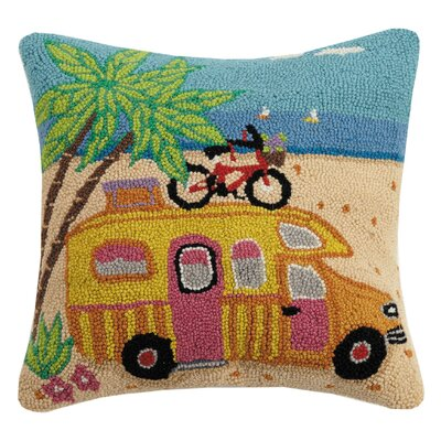 Hocker Beach Trailer Wool Throw Pillow