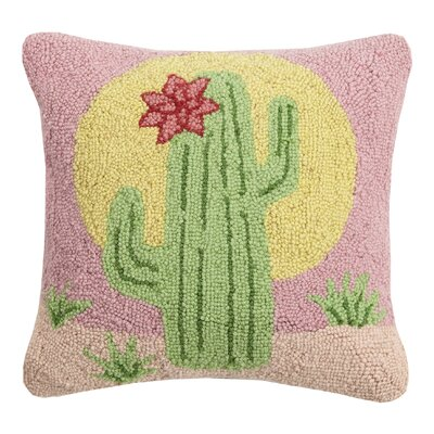 Parada Cactus with Flower Wool Throw Pillow