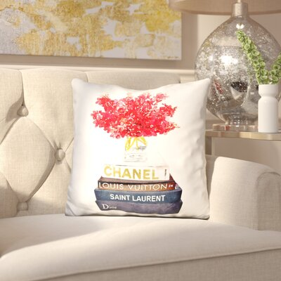 Janney Book Satck Flowers Throw Pillow