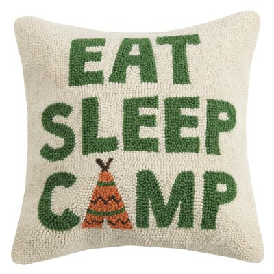 Ransome Eat, Sleep, Camp Wool Throw Pillow