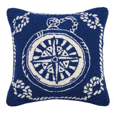 Eaddy Compass Nautical Wool Throw Pillow