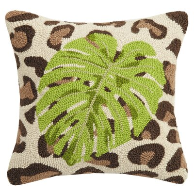 Pamrapo Leopard Banana Leaf Wool Throw Pillow