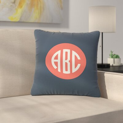 Classic Circle Monogram Typography Outdoor Throw Pillow Size: 18 H x 18 W x 5 D, Color: Gray