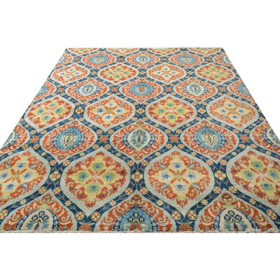 One-of-a-Kind Palmquist Hand-Knotted Wool Orange/Blue Area Rug
