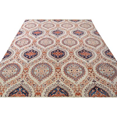 One-of-a-Kind Palmquist Hand-Knotted Wool Ivory/Blue Area Rug