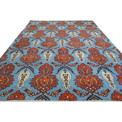 One-of-a-Kind Palmquist Hand-Knotted Wool Light Blue/Orange Area Rug