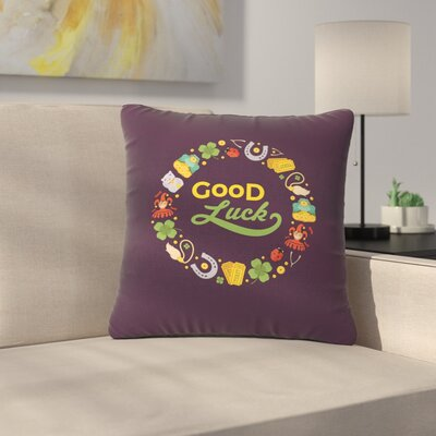 Good Luck! Outdoor Throw Pillow Size: 16 H x 16 W x 5 D
