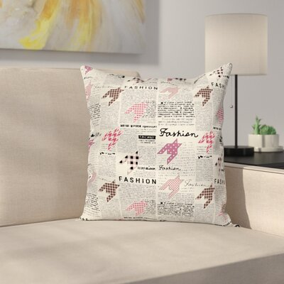 Elegant Fashion Magazine Retro Square Pillow Cover Size: 18 x 18