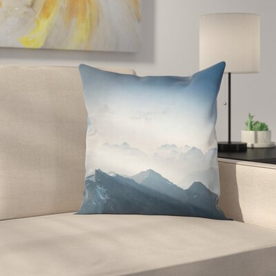 Nature Foggy Morning Mountain Square Pillow Cover Size: 16 x 16