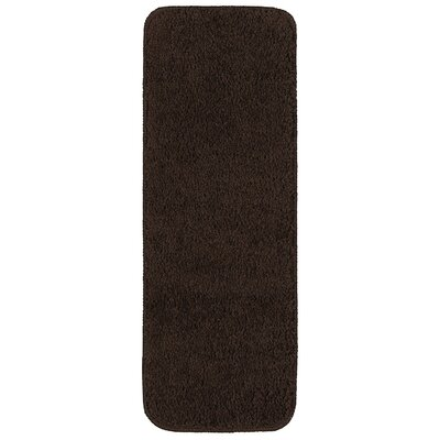Soft Solid Shag Carpet Stair Tread Color: Brown