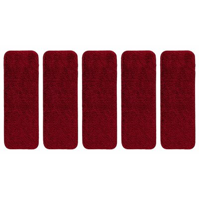 Soft Solid Shag Carpet Stair Tread Color: Red