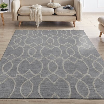 Hellman Natural Damask Trellis Hand-Tufted Wool Gray Area Rug