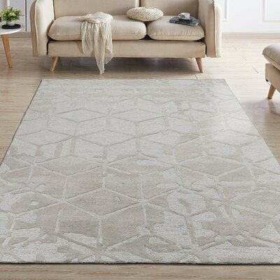 Konrad Natural Geometric 3D Cube Hand-Tufted Wool Beige Area Rug