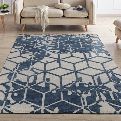 Konrad Natural Geometric 3D Cube Hand-Tufted Wool Navy Area Rug