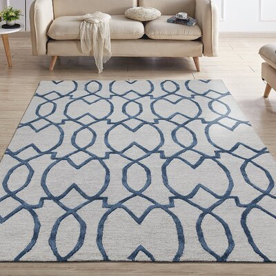 Hellman Natural Damask Trellis Hand-Tufted Wool Ivory Area Rug