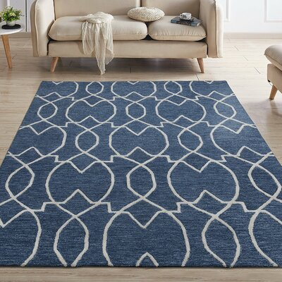 Hellman Natural Damask Trellis Hand-Tufted Wool Navy Area Rug