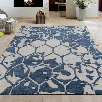 Konrad Natural Geometric Honey Comb Hand-Tufted Wool Navy Area Rug