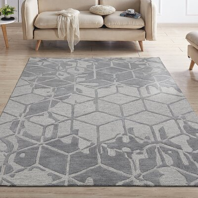 Konrad Natural Geometric 3D Cube Hand-Tufted Wool Gray Area Rug