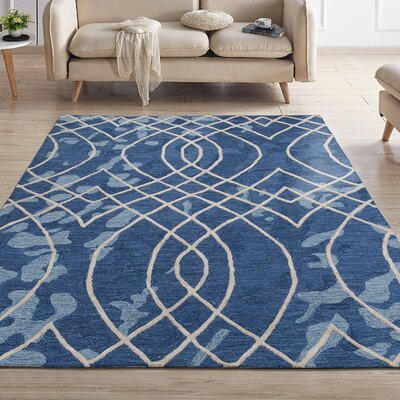 Konrad Natural Elliptic Motif Trellis Hand-Tufted Wool Navy Area Rug