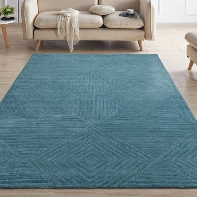 Gulledge Natural Geometric Diamond Mosaic Hand-Tufted Wool Teal Area Rug