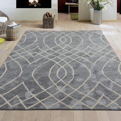 Konrad Natural Elliptic Motif Trellis Hand-Tufted Wool Gray Area Rug