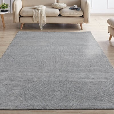 Gulledge Natural Geometric Diamond Mosaic Hand-Tufted Wool Gray Area Rug