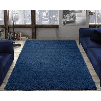 Yarborough Solid Design Contemporary Shag Navy Area Rug Rug Size: Rectangle 67 x 93