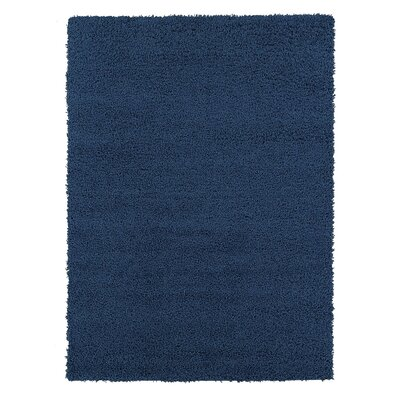 Yarborough Solid Design Contemporary Shag Navy Area Rug Rug Size: Rectangle 33 x 47
