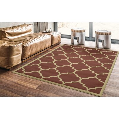 Hoehn Contemporary Moroccan Trellis Design Lattice Terracotta Area Rug Rug Size: Rectangle 53 x 70