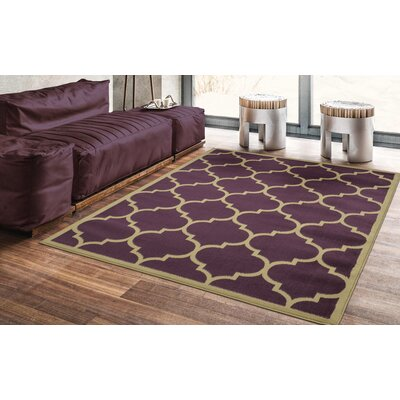 Hoehn Contemporary Moroccan Trellis Design Lattice Purple Area Rug Rug Size: Rectangle 53 x 70
