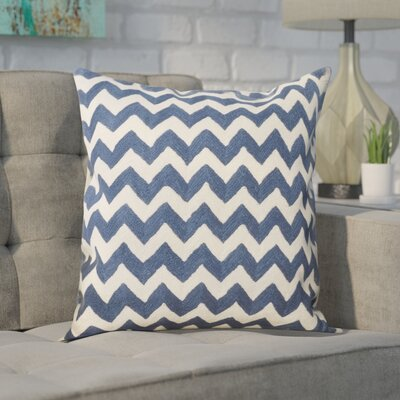 Jeramiah 100% Cotton Throw Pillow Size: 18 H x 18 W x 2.5 D, Color: Navy Blue