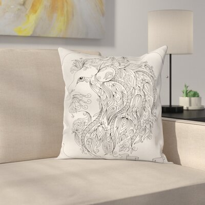 Astrology Zodiac Leo Lion Sign Square Pillow Cover Size: 18 x 18