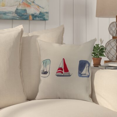 Crider Boat Trio Print Indoor/Outdoor Throw Pillow Color: Ivory, Size: 20 x 20