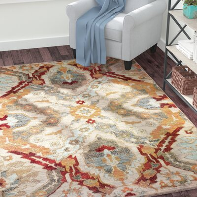 Herring Overscale Beige/Orange Area Rug Rug Size: Rectangle 53 x 76