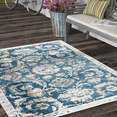 Clementine Transitional Navy Area Rug Rug Size: 53 x 73