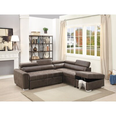 Mabry 2 Piece Convertible Sectional Set Upholstery: Dark Coffee Brown