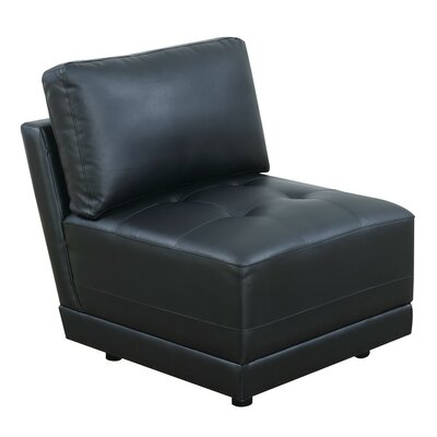 Chiasson Bonded Leather Armless Slipper Chair with Back Cushion