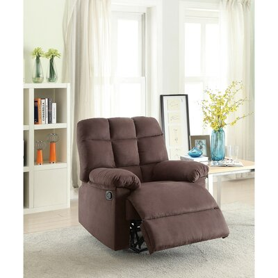 Conyers Tufted Back and Roll Arms Plush Cushioned Manual Recliner Upholstery: Brown