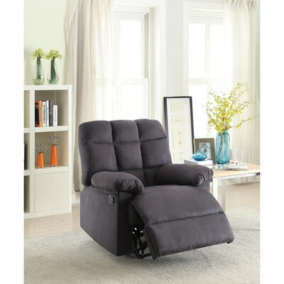 Conyers Tufted Back and Roll Arms Plush Cushioned Manual Recliner Upholstery: Gray