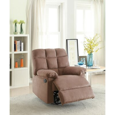 Conyers Tufted Back and Roll Arms Plush Cushioned Manual Recliner Upholstery: Saddle Brown