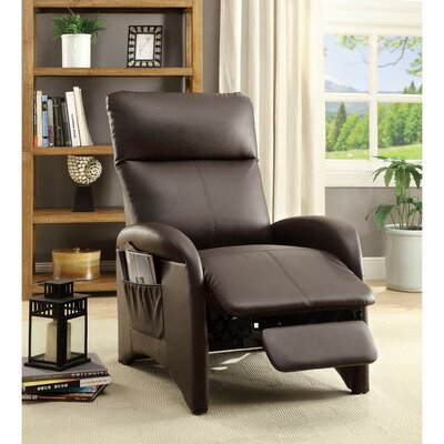 Centers High Back and Side Pocket Manual Recliner Upholstery: Espresso Brown