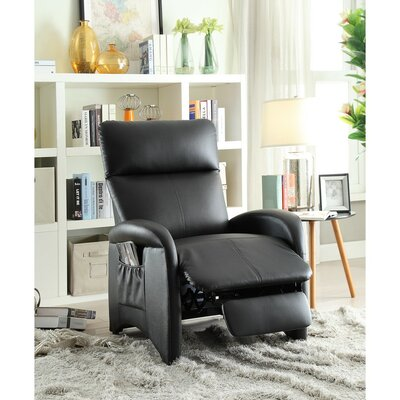Centers High Back and Side Pocket Manual Recliner Upholstery: Black