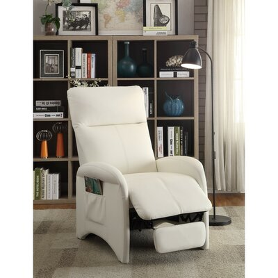 Centers High Back and Side Pocket Manual Recliner Upholstery: White