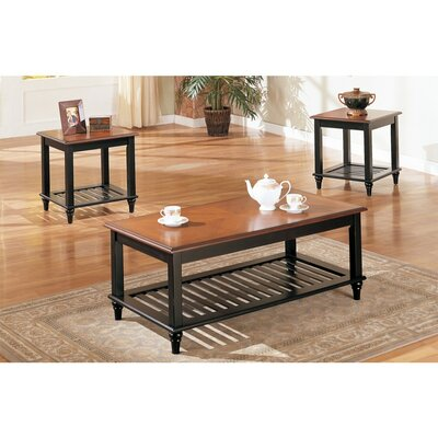Holston Wooden Lower Slatted Shelf 3 Piece Coffee Table Set