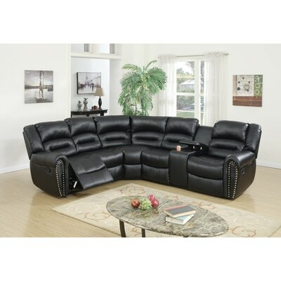 Eisenman 3 Piece Reclining Sectional Set Upholstery: Black