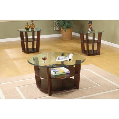 Grote Wooden 3 Piece Coffee Table Set with Round Glass Top